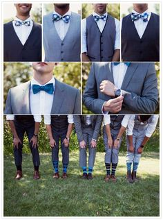 these groomsmen have serious style- from the vests to the bow-ties and the socks!!