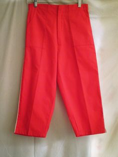 Vintage 50's Pants   Capri Pants Clam Diggers Rockabilly  Pinup Red with White Piping by rue23vintage on Etsy