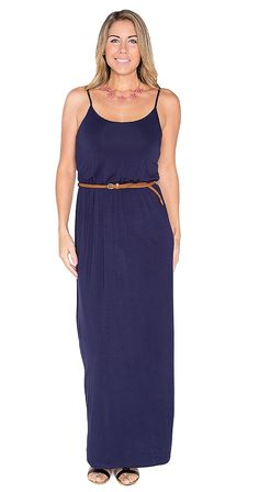 """Girls Night Out Maxi Dress Perfect for a girls night out...or any time! Super comfy with a little stretch, this piece will rock on its own or with the Status Update denim jacket.  Model is wearing M Adjustable shoulder strap Elastic waist Braided vegan leather belt Skirt length approx 42"""" 95% Rayon 5% Spandex"""