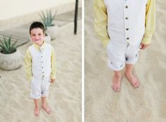 Cutie! Rolled pants on ring bearer at destination wedding on the beach | Photo by http://lucidcaptures.com