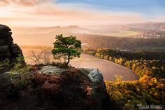 View from Lilienstein - Lilienstein is a table mountain in the Saxon Switzerland (Saxony, southeastern Germany). November 2015.