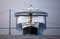 If the Titanic was sailing towards you with the Queen Mary 2 behind her this is what it would look like!