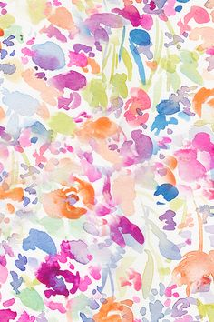 Abstract Watercolor Flower Field by angiemakes - colorful watercolor flowers on fabric, wallpaper, and gift wrap.