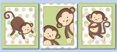 Monkeys Prints for Nursery, Monkeys Wall Art, Nursery Wall Art Set of 3 Pop Monkeys, Monkeys Nursery Decor Art Prints, Kids Room Wall Art Kids Room Wall Art, Nursery Wall Art, Nursery Decor, Nursery Room, Baby Room, Wall Art Sets, Wall Art Prints, Monkey Nursery, Fine Art Paper