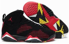973600b69a9e04 Latest Listing Cheap Womens Air Jordan 7 (VII) Embroidery Charcoal Black True  Red-Yellow For Sale