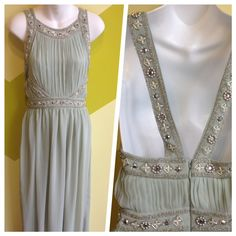 TOPSHOP Mint chiffon, beaded cross-strap evening gown. Size S $25