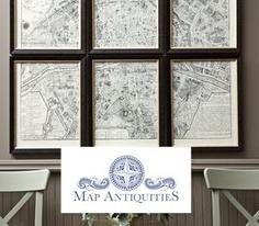 vintage maps framed
