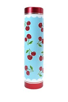 "Cherries Smart Phone/Tech Device Portable Power Bank Charger - Power watt/volt: 5V/0.5A Output: 5V/1.0A - Cord length: 18 inches (with 3 multi-phone attachments) - 2600 mah battery charger  - Embellished with cherries imprinted vinyl wrap - Red barrel - Color: Cherries - 3.62"" H x 1"" W - Each charger includes a small velvet pouch - Hand crafted/decorated in USA - Imported (battery) $32.00"