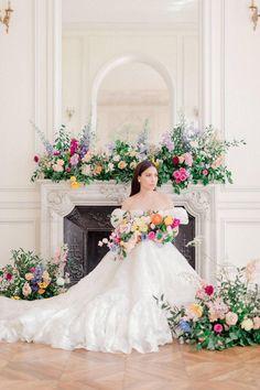 French Chateau Elegance With A Twist of Summer Fantasy Wedding Bouquets, Wedding Flowers, Wedding Dresses, French Chateau, Wedding Flower Inspiration, Elegant, Fantasy, Summer, Floral Wreath