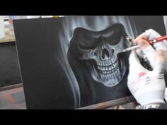 Airbrush Videoanleitung Sensenmann in Flammen - Grim Reaper in Flames Paint Howto Tutorial - Airbrush Videoanleitung Sensenmann in Flammen – Grim Reaper in Flames Paint Howto Tutorial – Yo - Dark Fantasy Art, Artwork Pictures, Cool Artwork, Airbrush Skull, Jewelry Box Makeover, How To Make Stencils, Free Stencils, Air Brush Painting, Painting Videos