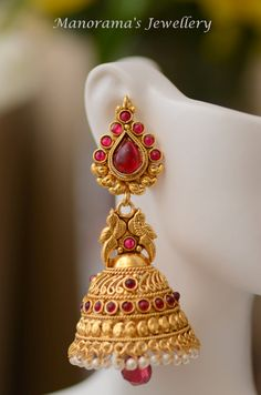 Surabhi Earrings  Beautiful Jhumka Earrings Studded with Kemp
