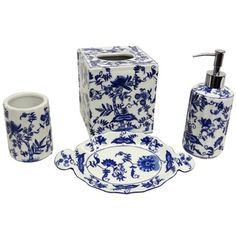 blue and white porcelain bathroom accessories blue and white florettes porcelain bath accessory 4 25166