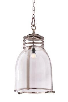 Features Induction Industrial Pendant  Finishes Chrome  Dimensions 30cm x 30cm x 40cm Supplied with 1m of chain  Globe 240V GLS E27 (not included)