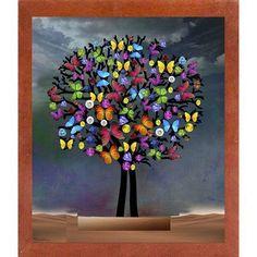 "Ebern Designs 'Tree New' Graphic Art Print Format: Affordable Canadian Walnut Medium Framed Paper, Size: 27.25"" H x 23.25"" W x 2"" D"