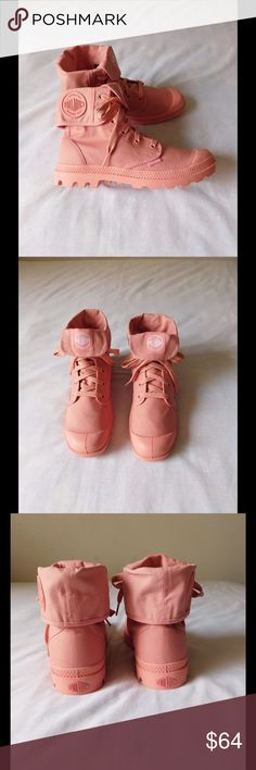 Glamorous Coral Palladium Canvas Boots NWOT. These pair of boots are amazing and adorable. Soft and comfy material. Gorgeous color and exclusive design. Folding system. Size 9.0 - Negotiable Price. Palladium Shoes Ankle Boots & Booties