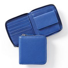 Blue Small Zippered Wallet | Full Grain Cobalt Leather