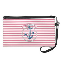 """ Sail Away - Nautical Anchor with Rope and pink stripes"" Wristlet, Clutches by ingeinc.com"