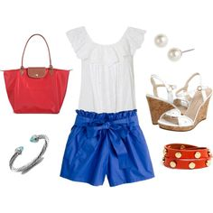 Fourth of July Outfit: J.Crew Shorts, Red Longchamp, Jack Rogers Wedges, David Yurman Bracelet, Tory Burch Wrap Bracelet, and Pearls- perfection for the 4th outfit
