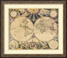 'New World Map, 1676' by Pieter Goos Framed Graphic Art