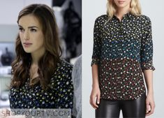 Simmons' multicolored floral buttondown shirt - S1E7 Agents of SHIELD