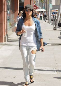 Low key: Michelle Rodriguez toned her style down for once as she headed out in Beverly Hills, California, on Wednesday afternoon Michelle Rodriguez, Beverly Hills, Kim Kardashian Bikini, Double Denim, Hollywood Fashion, Celebs, Celebrities, Distressed Jeans, Celebrity