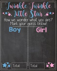 Little Star Gender Reveal Guess sign baby shower chalkboard PRINTABLE poster Twinkle Twinkle Little Star How I wonder what you are
