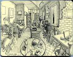 54 Interior Place Pencil Drawing Ideas - New Moleskine Sketchbook, Sketchbook Drawings, Drawing Sketches, Pencil Drawings, Sketchbooks, Drawing Ideas, Art And Illustration, Drawing Apple, Really Cool Drawings