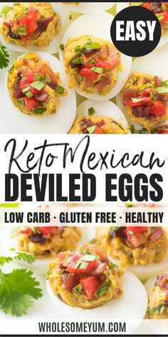 Mexican Keto Deviled Eggs Recipe with Avocado and Bacon - - Avocado Recipes, Egg Recipes, Paleo Recipes, Real Food Recipes, Great Recipes, Cooking Recipes, Snack Recipes, Favorite Recipes, Bacon Recipes