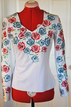 Beautiful Patriotic Red, White & Blue Roses Custom Made Embroidered Horsemanship Shirt. $225.00, via Etsy.