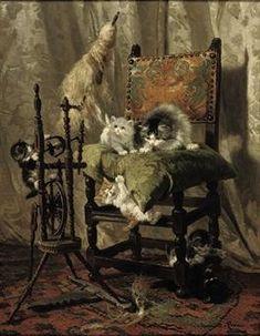 Chatons espiègles par une huile Roue Henriette Ronner-Knip Spinning sur toile Collection privée