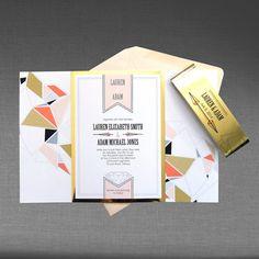 Ink Blossom | Handmade Stationery & Wedding Invitations | Ottawa, ON | Modern geometric design with metallic gold paper wrap and blush pink accents | www.inkblossom.ca