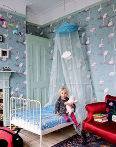 pink flamingo wallpaper (Cole and Sons) - blues, reds, mint green