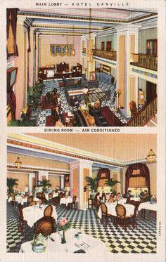 Danville Va Hotel Interior Lobby And Dining Room Linen Postcard Unused