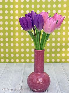 Pink and Purple Tulips.Styling  Photography © Ingrid Henningsson/Of Spring and Summer. http://ofspringandsummer.blogspot.co.uk/