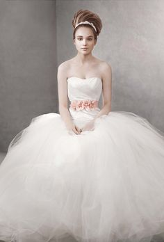 White by Vera Wang for David's Bridal Fall 2013 | Ball Gown with Asymmetrically Draped Bodice Style VW351007