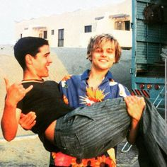 leo-w-dicaprio: Leonardo and his colleague Jesse Bradford on the set of Romeo + Juliet