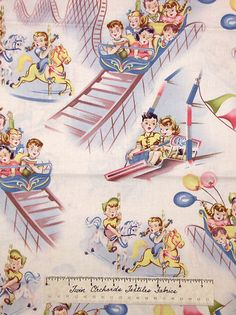 Retro Vintage Amusement Park Kids Timeless Treasures Cotton Fabric Yards | eBay