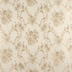 French Whisper Beige and White Floral Brocade Upholstery Fabric