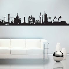 Skyline Of The World Marked Buildings Wall Sticker. Make the entire world your home by embellishing your home walls with this classic depiction of world's topmost architectural marvels and most recognizable buildings and features from every corner of the earth through these world skyline wall decorations. http://walliv.com/skyline-of-the-world-marked-buildings-wall-sticker-wall-art-decal