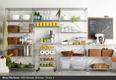 chrome kitchen from crate and barrel MAX Pantry Chrome Modular Shelving Set Glass Food Storage, Food Storage Containers, Kitchen Storage, Kitchen Decor, Kitchen Dining, Kitchen Pantry, Bakery Kitchen, Pantry Room, Condo Kitchen