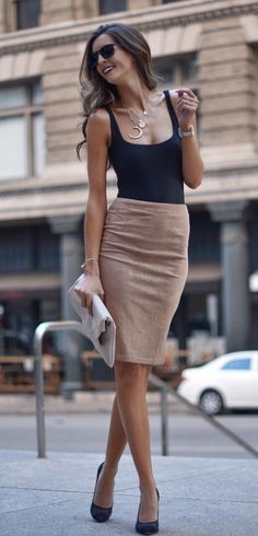 #winter #outfits black and brown scoop-neck sleeveless sheath dress. Click To Shop This Look.