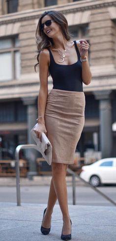 black scoop-neck sleeveless shirt and brown midi skirt - Bleistiftrock - Fashion Mode, Work Fashion, Womens Fashion, Fashion 2018, Latest Fashion, Office Fashion, Cheap Fashion, London Fashion, Style Fashion