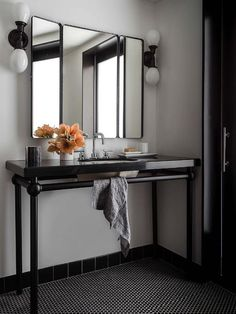 Chic black bathroom