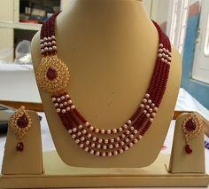 Ali baba Selani gold and diamond splyer Dubai. Ruby Jewelry, Bead Jewellery, Jewelry Art, Beaded Jewelry, Jewelery, Fashion Jewelry, Jewelry Design, Pearl Necklace Designs, Antique Necklace