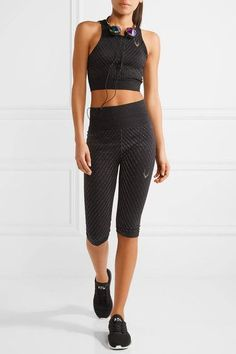 Lucas Hugh - Technical Knit Stardust Metallic Stretch Sports Bra - Black - x small
