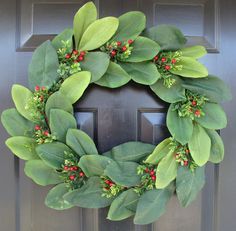 Christmas Magnolia Wreath- Berry and Boxwood Wreath- Magnolia Christmas Wreath- Thin Door Wreath