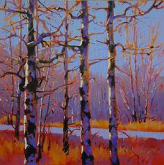 Mike Svob - Branching Out Abstract Landscape, Landscape Paintings, Tree Paintings, Contemporary Landscape, Acrylic Paintings, Birch Tree Art, Diy Art Projects, Canadian Art, Oeuvre D'art