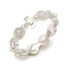 Greek Bubble Rosary Ring Solid sterling silver 12ea Zirconia Cubic Plated RS115 #Rosarium