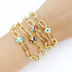 Gold Oval Link Chain Bracelet, Evil Eye Pandora Charm Bracelet, Protec – #evileye #evileyes #evileyebracelet #evileyejewelry #adjustablebracelet #greekjewelery #nazarboncuk #nazarbeads #greekevileye #bracelet #ovallinkchainbracelet #pandorabracelet #evileyebangle #goldbracelet Evil Eye Jewelry, Evil Eye Bracelet, Chain Bracelets, Bangles, Greek Evil Eye, Eye Protection, Adjustable Bracelet, Pandora Charms, Jewelery