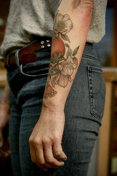 Kirsten Holliday Pomegranates and hellebore tattoo